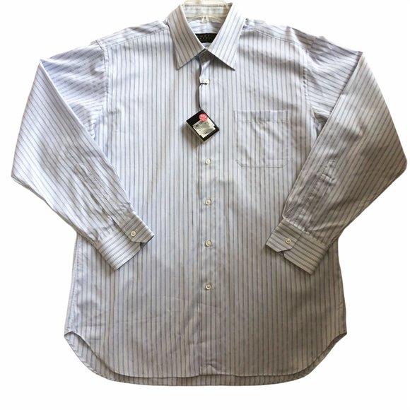 NWT Robert Talbott Dress Shirt White/Blue Striped